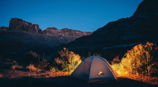 Camping tent in wilderness